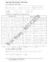 Tổng hợp các công thức tính đạo hàm, tích phân, hàm số mũ logarit
