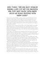 """HỘI THẢO """"đề án QUY HOẠCH MẠNG lưới cơ sở CAI NGHIỆN MA túy bắt BUỘC đến năm 2020 và ĐỊNH HƯỚNG đến năm 2030"""""""