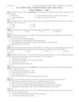 Câu hỏi trắc nghiệm sinh 9 học kì 2