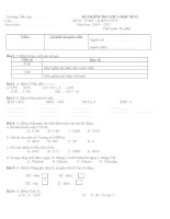 Đề Kiểm tra Giữa kỳ II_ Toán lớp 3