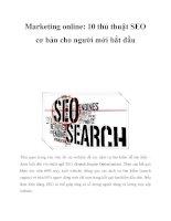 Marketing Online: 10 Thủ Thuật Seo Cơ Bản Cho Người Mới Bắt Đầu