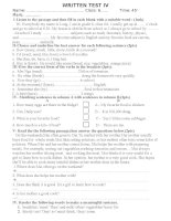 Written  test I semester II grade 6