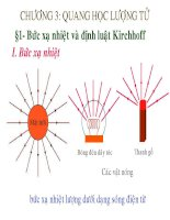 Bài giảng Vật lý A3 - chương 3 Quang học lượng tử