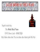 Bài giảng Luật hình sự Việt Nam-Chương 1 Khái niệm, nhiệm vụ và các nguyên tắc cơ bản của luật hình sự Việt Nam.PPT