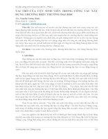 VAI TRÒ CỦA CỰU SINH VIÊN TRONG CÔNG TÁC XÂY DỰNG THƯƠNG HIỆU TRƯỜNG ĐẠI HỌC
