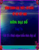 Tiết 51: Khái niệm biểu thứcđại số