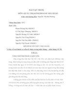 Bài tập nhóm môn QUẢN TRỊ KINH DOANH NHÀ HÀNG MÔ HÌNH TỔ CHỨC NHÀ HÀNG Ví dụ về mô hình cơ cấu tổ chức trong nhà hàng – nhà hàng SUM