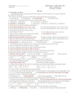 Đề ra và đáp án kiểm tra 1 tiết học kì I-12