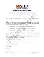 SHB 2013 – 80 Câu hỏi ôn thi Thẩm định tín dụng KHDN