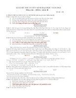 Giải chi tiết đề thi đại học môn hóa học khối B năm 2012