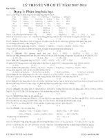 Đáp án lý thuyết hóa vô cơ trong các đề thi đại học môn Hóa học từ năm 2007 đến 2014