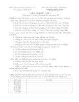 Đề thi HSG môn Lịch sử 9 - Số 06