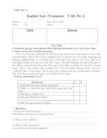 Bộ đề kiểm tra môn tiếng Anh 8