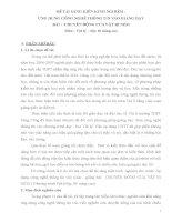 ĐỀ TÀI SÁNG KIẾN KINH NGHIỆM : ỨNG DỤNG CÔNG NGHỆ THÔNG TIN VÀO GIẢNG DẠY BÀI : CHUYỂN ĐỘNG CỦA VẬT BỊ NÉM