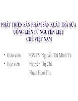 Tiểu luận môn phát triển sản phẩm mới Phát triển sản phẩm sản xuất trà sữa uống liền từ nguyên liệu chè Việt Nam