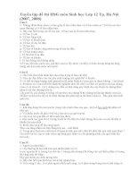 Tuyển tập đề thi HSG môn Sinh học Lớp 12 Tp. Hà Nội (2007, 2008)