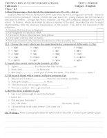 các đề kiểm tra 45 phút môn tiếng anh lớp 8 ( theo chuẩn kiến thức kĩ năng)