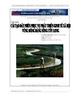 Tiểu luận Cải tạo đất phèn phục vụ phát triển kinh tế xã hội vùng đồng bằng sông Cửu Long