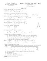đề thi khảo sát giữa kì 2 toán 7
