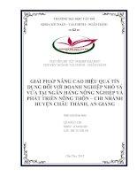 GIẢI PHÁP NÂNG CAO HIỆU QUẢ TÍN DỤNG ĐỐI VỚI DOANH NGHIỆP NHỎ VÀ VỪA TẠI NGÂN HÀNG NÔNG NGHIỆP VÀ PHÁT TRIỂN NÔNG THÔN – CHI NHÁNH HUYỆN CHÂU THÀNH, AN GIANG