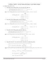 CÔNG THỨC GIẢI NHANH bài tập hóa học 12