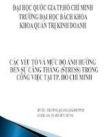 Silde nghiên cứu: CÁC YẾU TỐ VÀ MỨC ĐỘ ẢNH HƯỞNG ĐẾN SỰ CĂNG THẲNG (STRESS) TRONG CÔNG VIỆC TẠI TP. HỒ CHÍ MINH