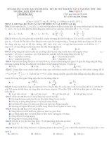 Đề và đáp án thi thử ĐH môn Vật lý 2011