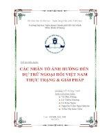 Tiểu luận môn Kinh tế lượng Các nhân tố ảnh hưởng đến dự trữ ngoại hối Việt Nam-thực trạng & giải pháp