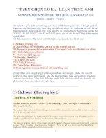 TUYỂN CHỌN 133 BÀI LUẬN TIẾNG ANH DÀNH CHO HỌC SINH ÔN THI THPT QUỐC GIA 2015 VÀ LUYỆN THI TOEFL - IELTS - TOEIC