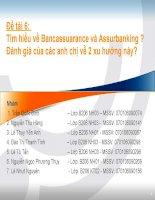 Tiểu luận môn Marketing ngân hàng Tìm hiểu về Bancassuarance và Assurbanking Đánh giá của các anh chị về 2 xu hướng này