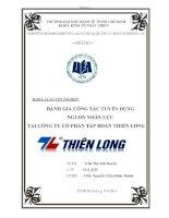 Đánh giá công tác tuyển dụng nguồn nhân lực tại công ty cổ phần tập đoàn Thiên Long  ( Chuyên đề tốt nghiệp Trường Đại Học Kinh Tế 2013)