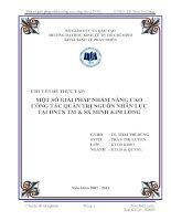 Một số giải pháp nhằm nâng cao công tác quản trị nguồn nhân lực tại Doanh nghiệp Tư nhân Thương mại và Sản xuất Minh Kim Long