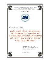 Hoàn thiện công tác quản trị nguồn nhân lực tại công ty TNHH một thanh viên xuất nhập khẩu và đầu tư Chợ Lớn (Cholimex) ( Chuyên đề tốt nghiệp TP.HCM  Trường Đại Học Kinh Tế,)