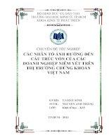 Các nhân tố ảnh hưởng đến cấu trúc vốn của các doanh nghiệp niêm yết trên thị trường chứng khoán Việt Nam ( Chuyên đề tốt nghiệp Trường Đại Học Kinh Tế, 2013)