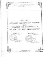 Báo cáo đánh giá tác động môi trường  Nhà máy chế biến thủy sản và nông sản An San tỉnh Sóc Trăng