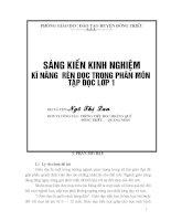 SÁNG KIẾN KINH NGHIỆM KĨ NĂNG RÈN ĐỌC TRONG PHÂN MÔN TẬP ĐỌC LỚP 1