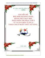 CHUYÊN ĐỀ   ĐỔI MỚI PHƯƠNG PHÁP,  HÌNH THỨC DẠY HỌC  PHÂN MÔN ÂM NHẠC LỚP 3  TỪ TUẦN 9 ĐẾN TUẦN 12 THEO CHUẨN KIẾN THỨC KĨ NĂNG.