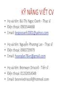 bài giảng Recruitment and Selection (kỹ năng viết cv)  Bronwyn Driscoll, Bùi Thị Ngọc Oanh, Nguyễn Phương Lan