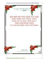 ĐỔI MỚI PHƯƠNG PHÁP DẠY HỌC  PHÂN MÔN THỦ CÔNG  LỚP 2  GIÁO ÁN TỪ BÀI 1 ĐẾN BÀI 3   THEO MÔ HÌNH VINEN  VÀ CHUẨN KIẾN THỨC KĨ NĂNG
