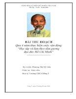 Bài thu hoạc 4 năm thực hiện và làm theo tư tưởng, tấm gương đạo đức Hồ Chí Minh