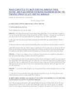 Báo cáo của Ủy ban chứng khoán Nhà nước về kinh nghiệm quốc tế trong lĩnh vực chứng khoán