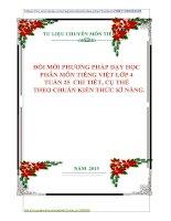 ĐỔI MỚI PHƯƠNG PHÁP DẠY HỌC  PHÂN MÔN TIẾNG VIỆT LỚP 4  TUẦN 25  CHI TIẾT, CỤ THỂ    THEO CHUẨN KIẾN THỨC KĨ NĂNG.