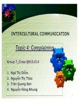 INTERCULTURAL COMMUNICATION-TOPIC 4-COMPLAINING