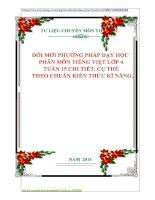 ĐỔI MỚI PHƯƠNG PHÁP DẠY HỌC  PHÂN MÔN TIẾNG VIỆT LỚP 4  TUẦN 15 CHI TIẾT, CỤ THỂ    THEO CHUẨN KIẾN THỨC KĨ NĂNG.