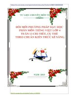 ĐỔI MỚI PHƯƠNG PHÁP DẠY HỌC  PHÂN MÔN TIẾNG VIỆT LỚP 4  TUẦN 13 CHI TIẾT, CỤ THỂ    THEO CHUẨN KIẾN THỨC KĨ NĂNG.