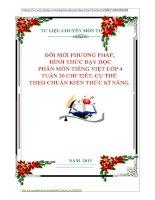 ĐỔI MỚI PHƯƠNG PHÁP DẠY HỌC PHÂN MÔN TIẾNG VIỆT LỚP 4 TUẦN 20 CHI TIẾT, CỤ THỂ THEO CHUẨN KIẾN THỨC KĨ NĂNG.