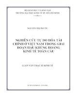 Nghiên cứu tự do hóa tài chính ở Việt Nam trong giai đoạn hậu khủng hoảng kinh tế toàn cầu