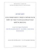 Giải pháp hoàn thiện chính sách tiền tệ Việt Nam giai đoạn hậu khủng hoảng