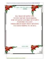 MA TRẬN ĐỀ KIỂM TRA  TUYỂN TẬP ĐỀ THAM KHẢO,  ĐÁP ÁN KHẢO SÁT HỌC KÌ II LỚP 2 NĂM HỌC 20142015  THEO CHUẨN KIẾN THỨC KĨ NĂNG  VÀ THEO THÔNG TƯ 302014.
