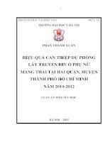 Hiệu quả can thiệp dự phòng lây truyền HIV ở phụ nữ mang thai tại hai quận, huyện thành phố Hồ Chí Minh, năm 2010-2012